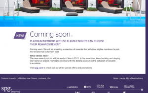 SPG Platinum - Choose Reward Benefit in 2015