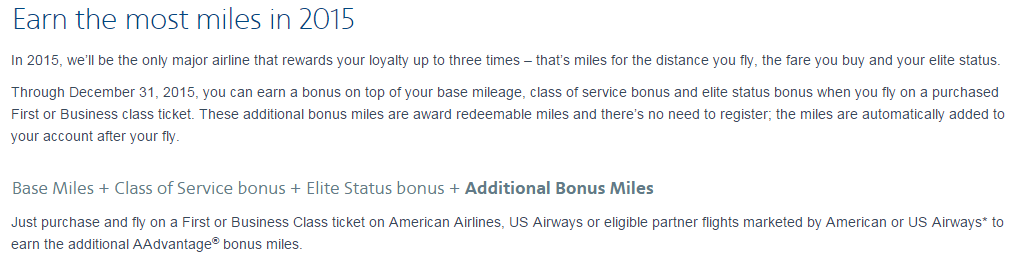 AAdvantage Bonus Miles 2015