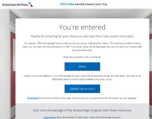 You Earned 1000 AAdvantage Bonus Miles