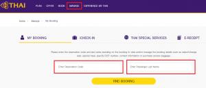Thai Airways - Manage booking