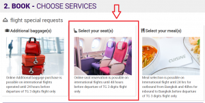 Thai Airways - Select your seat